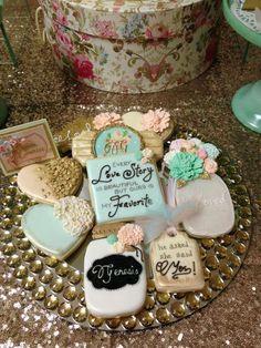 decorated cookies at a shabby chic bridal shower Chic Bridal Showers, Bridal Shower Rustic, Fancy Cookies, Vintage Cookies, Sugar Cookies, Galletas Decoradas Royal Icing, Wedding Shower Cookies, Bridal Shower Decorations, Chic Wedding