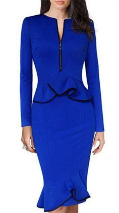 OL Style V-Neck Long Sleeve Waist Flounced Bodycon Midi Dress For Women