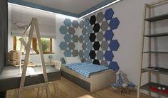 Interesująca aranżacja panelami akustycznymi Hexa Fluffo. Projekt by Monika Jankowska