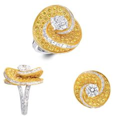 Helter Skelter diamond ring by Graff. These dramatic settings were created specifically to highlight the central stones, layering other custom-cut diamonds in an expert play of light. #fashion #jewelry #style #diamonds #rings #jewelryaddict #jewelrydesigner #jewelrylover #jewelryporn #jewelryoftheday