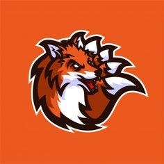 fox esport gaming mascot logo template Premium Vector