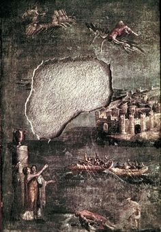 The Fall of Icarus represented on a fresco in Pompeii