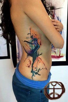 dancer watercolor tattoo