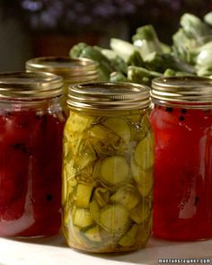Zucchini pickles - can use for cucumbers and re-use brine. From Serina:  sometimes add dill (fresh or dried) and garlic (fresh or powdered).