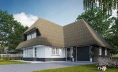 Landelijke villa. Rieten kap in combinatie met zwart potdekselwerk en wit gestuukte gevels. Een huis van Buitenhuis Villabouw.