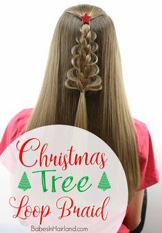 Christmas Tree Loop Braid from BabesInHairland.com | Christmas | hair | Braid | Christmas Tree | Hairstyle