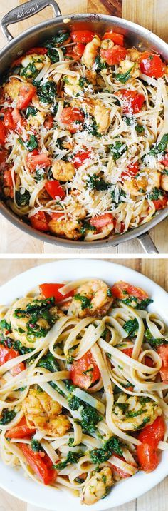 Shrimp pasta with fresh tomatoes and spinach in a garlic butter sauce. An Italian comfort food spiced just right!