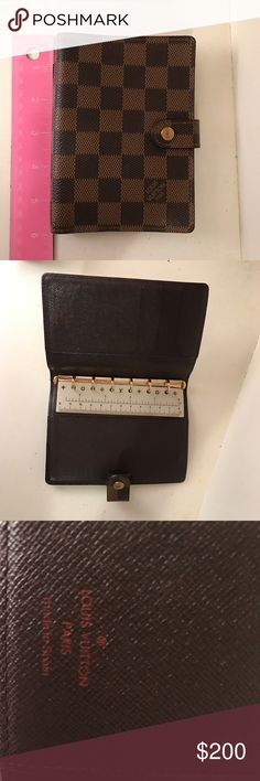 """Louis Vuitton Damier agenda Authentic Louis Vuitton Small Ring Agenda in great condition; no scratches or frays. 3.94""""x 5.51"""". No inserts.  Only used a couple of months Louis Vuitton Bags Wallets"""