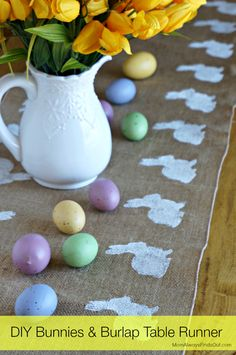 DIY Easter Decorations: Bunnies and Burlap Table Runner