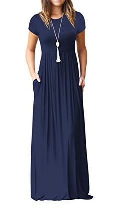 2064fcdefb7 SHOWNO-Women Short Sleeve Round Neck Long Maxi Casual Dress