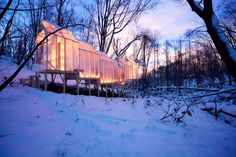 Leaving No Trace: A Gathering Place in the Winter Woods   Hidemi Mishida   Fragile Shelter   Dusk  [timber, plastic, temporary, nomadic, wooden beams, natural]