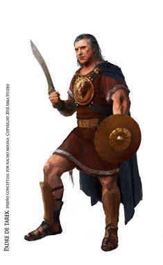 A Iberian warrior with a Falcata sword, a Caetra shield, a Cardiophylax (chest armor), and greaves.