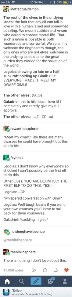 Legolas and Gimili are the BROTP to end them all You are in the right place about computer Nerd Humor Here we offer you the most beautiful pictures about the Nerd Humor weird you are looking for. Funny Quotes, Funny Memes, Hilarious, Fun Funny, Lotr, J. R. R. Tolkien, Thranduil, Legolas And Gimli, Into The West