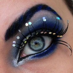 Hexagonal glitter lashes.  Incredible blue shadow.