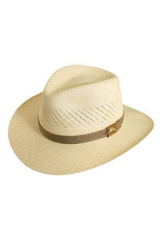Perforations detail a safari-inspired Panama straw fedora with a contrasting band. An elasticized sweatband provides a comfortable fit. Color(s): natural. Brand: Tommy Bahama. Style Name:.