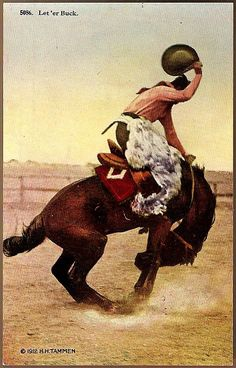 Vintage Post Card Artist Signed Western Photo Print Cowboy on Bucking Horse Cowboy Horse, Cowboy Art, Cowboy And Cowgirl, Horse Riding, Gaucho, Cowgirl Pictures, Rodeo Cowboys, Vintage Cowgirl, West Art