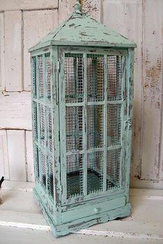Distressed blue birdcage