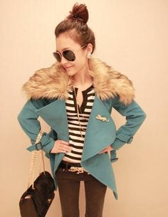 $33.99 Detachable Fur Collar Double Breasted Women Coat at Online Apparel Store Gofavor