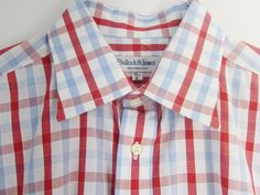 "Patriotic shirt for the #4thofJuly! Bullock Jones Mens UK #Red/White/Blue Checked LS Shirt 16"" x 34"" Cotton Exc Sz L #BullockJones"