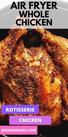 The best use of your air fryer is making this air fryer whole chicken. The meat is juicy and the skin is extra crispy.you are going to love how easy it is! Air Fryer Oven Recipes, Air Fryer Dinner Recipes, Air Fry Recipes, Meat Recipes, Low Carb Recipes, Cooking Recipes, Recipes Dinner, Recipies, Air Fryer Healthy
