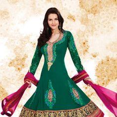 Green Faux Georgette Anarkali Churidar Kameez