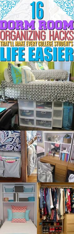 If you are moving into a college dorm room this school year, then you have to try these 16 dorm room organizing hacks! You won't regret it! Make sure your dorm room stays organized this year by using these 16 dorm room organization hacks, Dorm Hacks, Organizing Hacks, Dorm Room Organization, Storage Hacks, Organizing Girls Rooms, Hacks Diy, Storage Ideas, Boho Pattern, Dorm Room Checklist