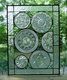 Vintage Crystal plate collage panel by Barbarasstainedglass