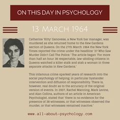 13th June, 1964. Catherine 'Kitty' Genovese, was murdered. This infamous crime sparked years of research into the social psychology of helping; in particular bystander intervention and diffusion of responsibility. Studying psychology? Click on image or GO HERE --> www.all-about-psychology.com for free psychology information & resources. #psychology