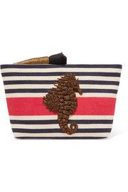 Embroidered striped canvas clutch