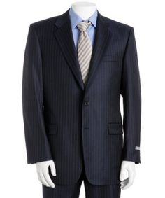 Navy Blue Pinstripe Merino Wool Suit [Blue Pinstripe Wool] - : Custom Suits, | Shirts | Sport | Coats | Tailor