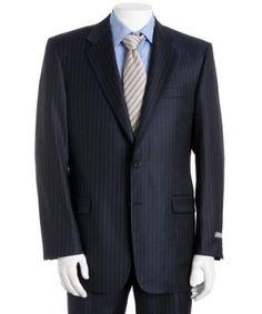 Navy Blue Pinstripe Merino Wool Suit [Blue Pinstripe Wool] - : Custom Suits, | Shirts | Sport | Coats | Tailor