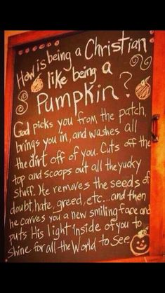 Cute correlation How is being a Christian like being a pumpkin? used this before with my Sunday school kids. Harvest Party, Fall Harvest, Harvest Time, Harvest Church, Believe, Thing 1, Happy Fall Y'all, Jesus Freak, A Pumpkin