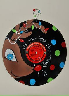 Hand-painted Vintage Vinyl Christmas Music Record - Rudolph, Bible Scripture