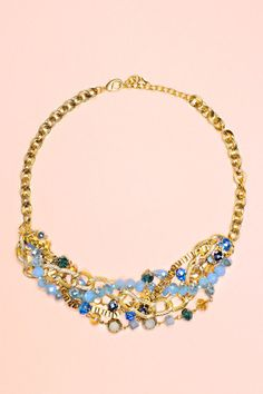 Blue Beaded Chain Necklace   uoionline.com: Women's Clothing Boutique