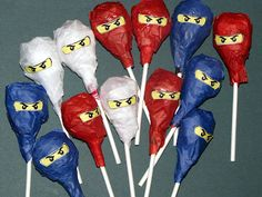 Tissue Paper Covered Tootsie or Blow Pops with Glued on Ninjago Eyes