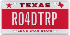 Take a road trip with MyPlates.com official Texas license plates! Personalize your plates and add some color to your ride!
