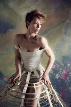 Karine Vanasse - love this short pixie cut on her and this outfit is different but what a nice photo too.
