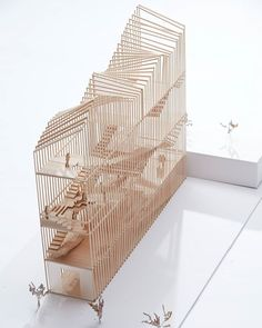 """nexttoparchitects:""""Model by Clare Yang ( using principles of sectional expansion and contraction for the entry studio Making of Design Principles with Jacqueline Shaw ( maquette hout verticaal dak vorm translucent Maquette Architecture, Architecture Design, Architecture Model Making, Concept Architecture, School Architecture, Tectonic Architecture, Conceptual Model Architecture, Model Building, Structural Model"""
