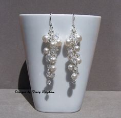 White Swarovski Pearl Crystal Cluster Wedding by DesignsbyTBrigham on Etsy, $43.00 wedding earrings, brides jewelry, bridesmaid jewelry, bridal party gift, mother of the bride gift