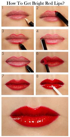 How To Get Bright Red Lips? :Today, we will show you how to do a glossy bright red lip makeup professionally.