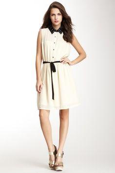 Studded Collar Sleeveless Dress