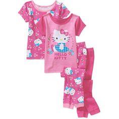 Hello Kitty Baby Girls' 4-Piece Cotton PJ Set