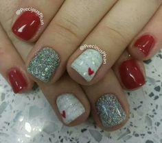 Valentine's Day nail art - red, white, glitter nail polish.