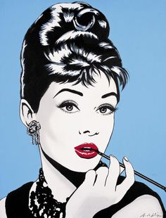 Antonio de Felipe - Audrey Hepburn Pop Art (blue background)
