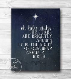 Christmas print, holiday wall art, holiday decoration, christmas carol, oh Holy night - christian typography