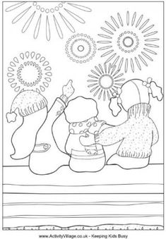 Three children wrapped up warm for a November night watch fireworks in this bonfire night colouring page
