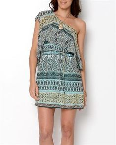 CL22 Printed One Shoulder Dress- Made in USA