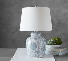 Langley Ceramic Bedside Lamp #potterybarn