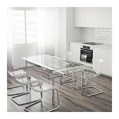 Mesas de cristal para comedor salon lisitea decoracion for Mesa glivarp cristal