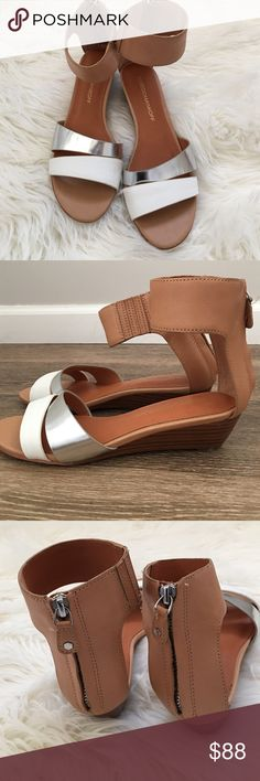 Rebecca Minkoff Ankle Strap Wedges NWOT. White Silver and British Tan Leather. Back zipper. Low wedge heel. Rebecca Minkoff Shoes Sandals